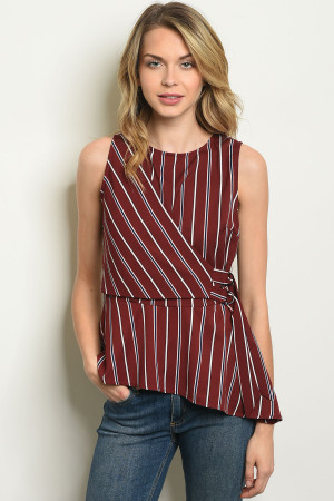 S8-12-2-T1617 BURGUNDY STRIPES TOP 2-2-2