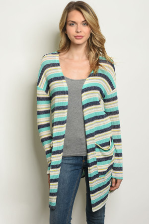 C70-A-1-C322 JADE STRIPES CARDIGAN 2-2-2-1