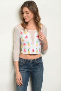C75-B-3-T5372 OFF WHITE WATERMELON PRINT TOP 2-2-2