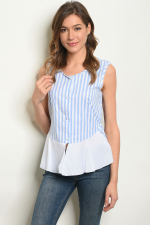 C60-B-4-T6659 BLUE STRIPES TOP 2-2-2