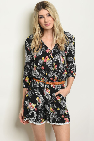 S4-2-3-R51656 BLACK WITH PAISLEY PRINT ROMPER 2-2-2