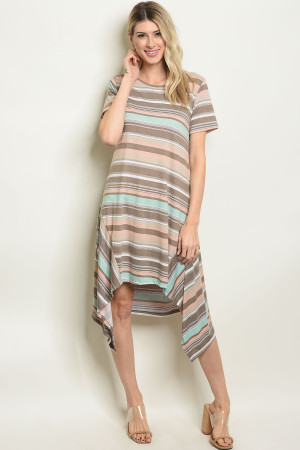 S17-11-2-D5521 TAUPE STRIPES DRESS 1-1-1