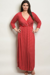 S16-12-2-D5389X RED STRIPES PLUS SIZE DRESS 3-2