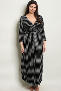 S10-19-4-D5389X BLACK STRIPES PLUS SIZE DRESS / 3PCS