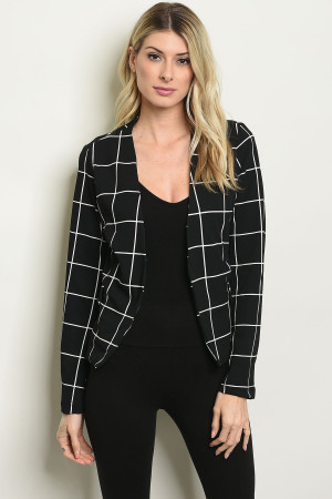 S24-5-3-B2014 BLACK CHECKERED BLAZER 2-2-2