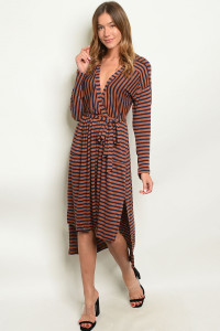 SA4-5-3-D13629 EARTH STRIPES DRESS 3-2-1