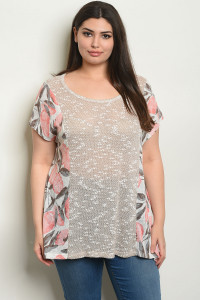 C48-A-4-T60868X SAND PEACH PLUS SIZE TOP 2-2-2