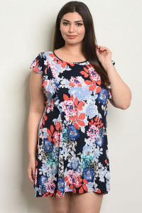 C93-A-2-D50630X NAVY FLORAL PLUS SIZE DRESS 2-2-2