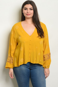 S16-8-3-NA-T54233X MUSTARD PLUS SIZE TOP 2-2-2