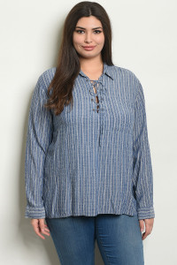 S16-8-3-NA-T54107X DENIM STRIPES PLUS SIZE TOP 2-2-2