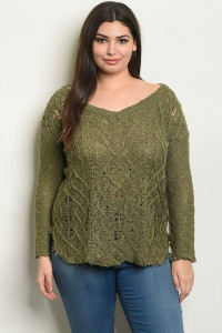 S8-11-2-NA-T30042X OLIVE PLUS SIZE TOP 2-2-2