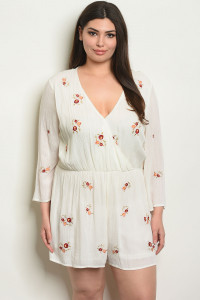 S14-12-5-NA-R60582X IVORY WITH FLOWER EMBROIDERY PLUS SIZE ROMPER 2-2-2
