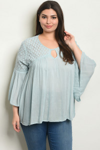 S9-16-1-NA-T52985X BLUE PLUS SIZE TOP 2-1-2