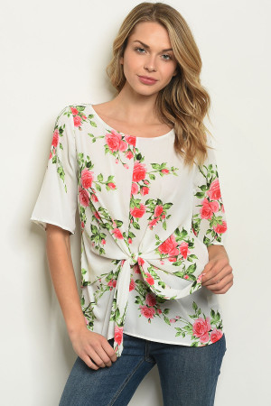 C93-B-3-T0834 IVORY PINK ROSES TOP 2-2-2