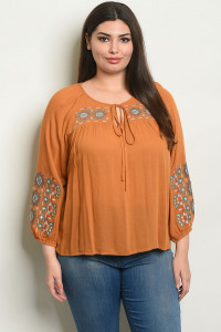 S20-10-6-NA-T54339X CAMEL PLUS SIZE TOP 2-2-2
