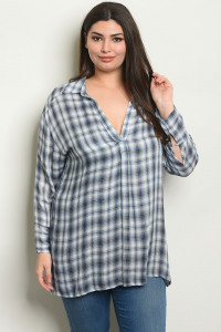 S20-10-6-NA-T54061X BLUE CHECKERED PLUS SIZE TOP 2-2-2