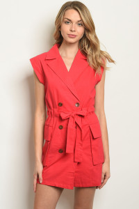 S7-9-4-D16565 RED LINEN BLEND DRESS 3-2-1