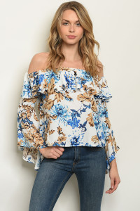 S16-4-5-NA-T56629 WHITE BLUE FLORAL TOP 2-2-2