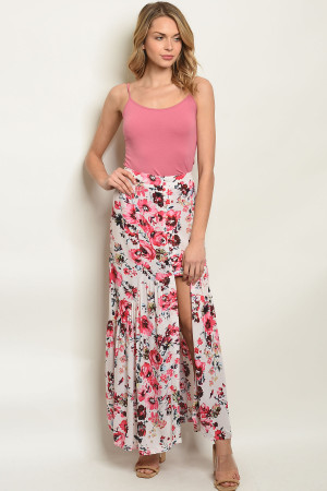 S8-7-4-NA-S80219 PINK FLORAL SKIRT 3-2-1