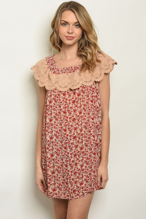 S8-7-4-NA-T13715 TAUPE FLORAL DRESS 3-2-1