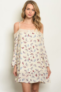 S8-7-1-D14760 CREAM WITH BUTTERFLY PRINT DRESS 2-2-2