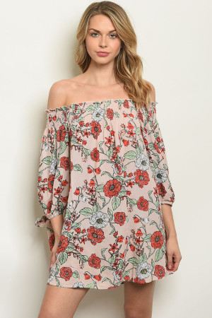 S8-7-2-NA-D14820 TAUPE FLORAL DRESS 2-2-2