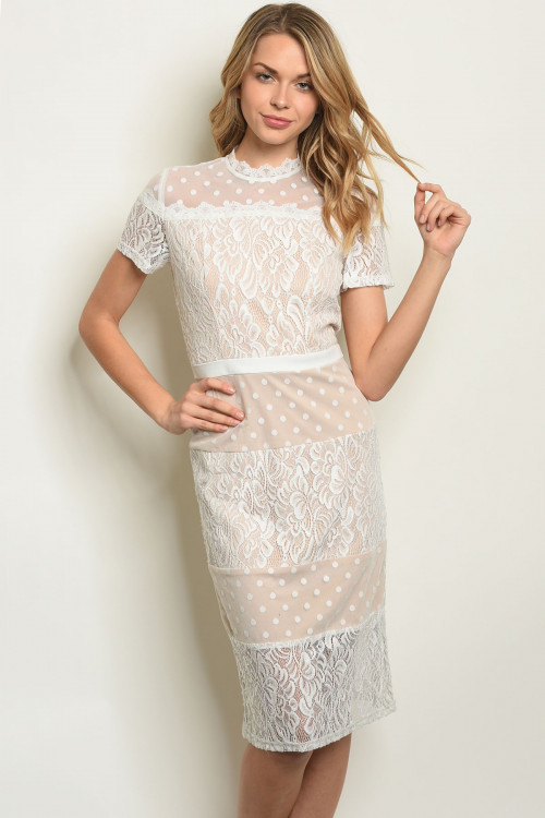 S19-2-1-D90094 WHITE NUDE DRESS 3-2-1
