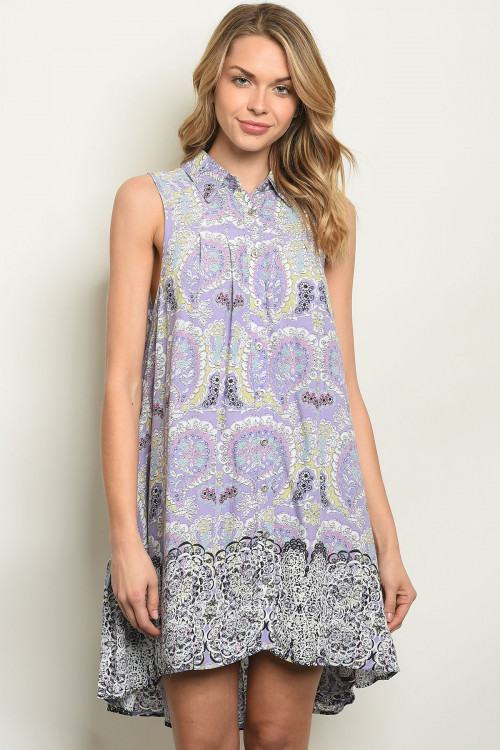 S25-6-6-NA-D14188 LAVENDER PAISELY PRINT DRESS 3-2-1