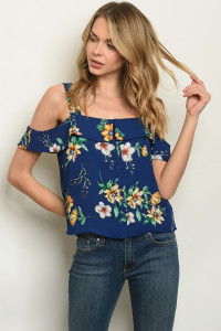 S25-6-6-NA-T56605 NAVY FLORAL TOP 2-2-2