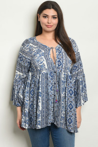 S7-7-4-NA-T053561X WHITE BLUE PLUS SIZE TOP 2-2-2