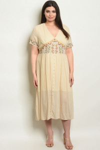 S7-10-2-NA-D15721X CREAM PLUS SIZE DRESS 2-2-2