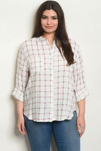 S25-7-6-NA-T53627X WHITE CHECKERED PLUS SIZE TOP 2-2-2