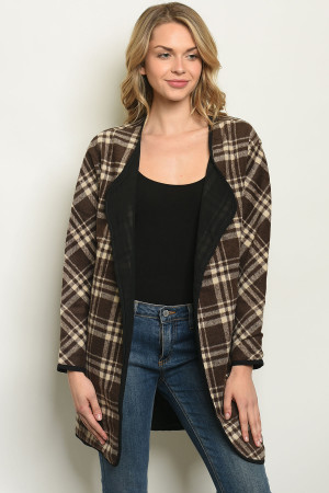 S8-8-3-CT15100 BROWN CREAM PLAID CARDIGAN 2-2-2