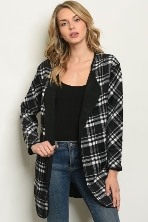 S21-7-5-CT15100 BLACK WHITE PLAID CARDIGAN 2-2-2