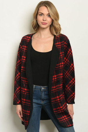 S8-8-3-CT15100 RED BLACK PLAID CARDIGAN 2-2-2