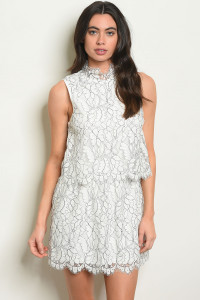 S14-12-2-D9482 WHITE BLACK DRESS 2-2-2