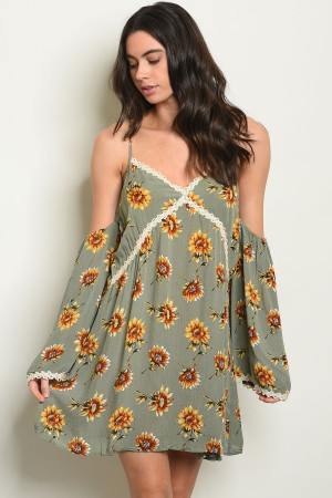 S19-8-3-D4382 OLIVE WITH FLOWER PRINT DRESS 2-2-2