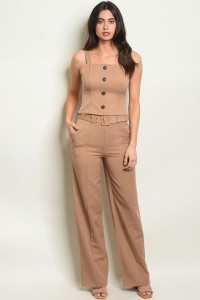 S21-1-1-SET9055 TAUPE TOP & PANTS SET 3-2-1