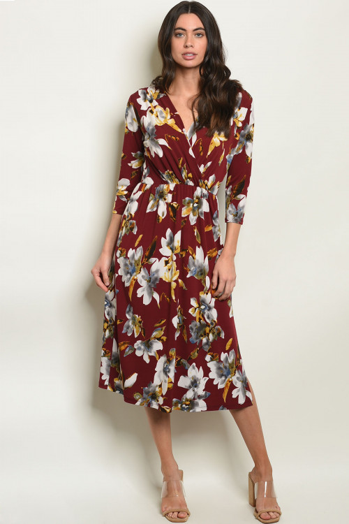 C81-A-1-D128975 WINE CREAM FLORAL DRESS 2-2-2