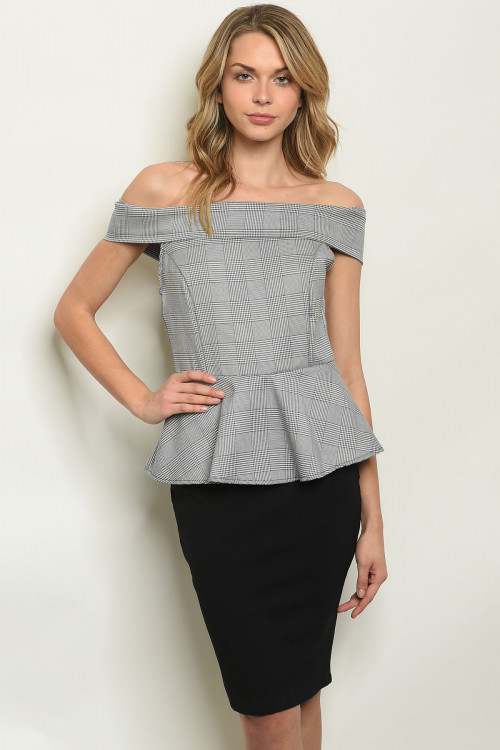 C36-A-7-D7731 GRAY BLACK DRESS 2-2-2