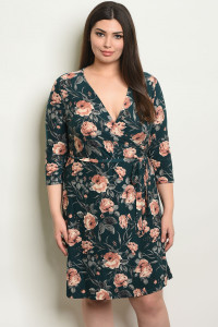 C70-A-7-D14426X TEAL FLORAL PLUS SIZE DRESS 1-2-2-1