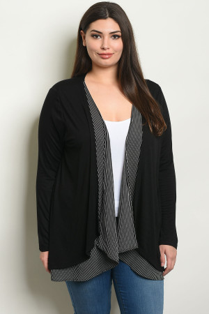 C76-A-6-C8193X BLACK WHITE CARDIGAN 2-2-2