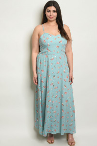 C80-A-4-D13463X BLUE FLORAL PLUS SIZE DRESS 2-2-2