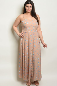 C80-A-4-D13463X DUSTY ROSE PLUS SIZE DRESS 2-2-2