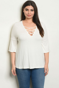 C65-A-1-T7818X IVORY PLUS SIZE TOP 1-2-1