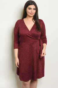 C92-A-1-D14518X WINE PLUS SIZE DRESS 1-2-1