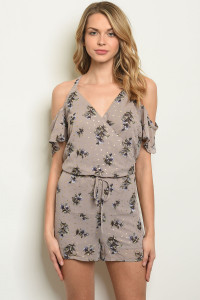 S23-12-2-R778003 TAUPE FLORAL ROMPER 1-2-2-1
