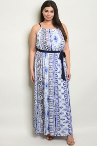 S8-13-1-D15251X WHITE NAVY TYE DYE PLUS SIZE DRESS 1-2-2-1-1