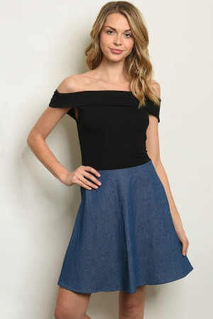 S20-3-4-D1195 BLACK BLUE DENIM DRESS 3-2-1
