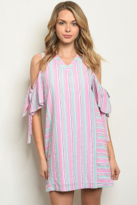 S20-1-4-D177 PINK STRIPES DRESS 3-2-1
